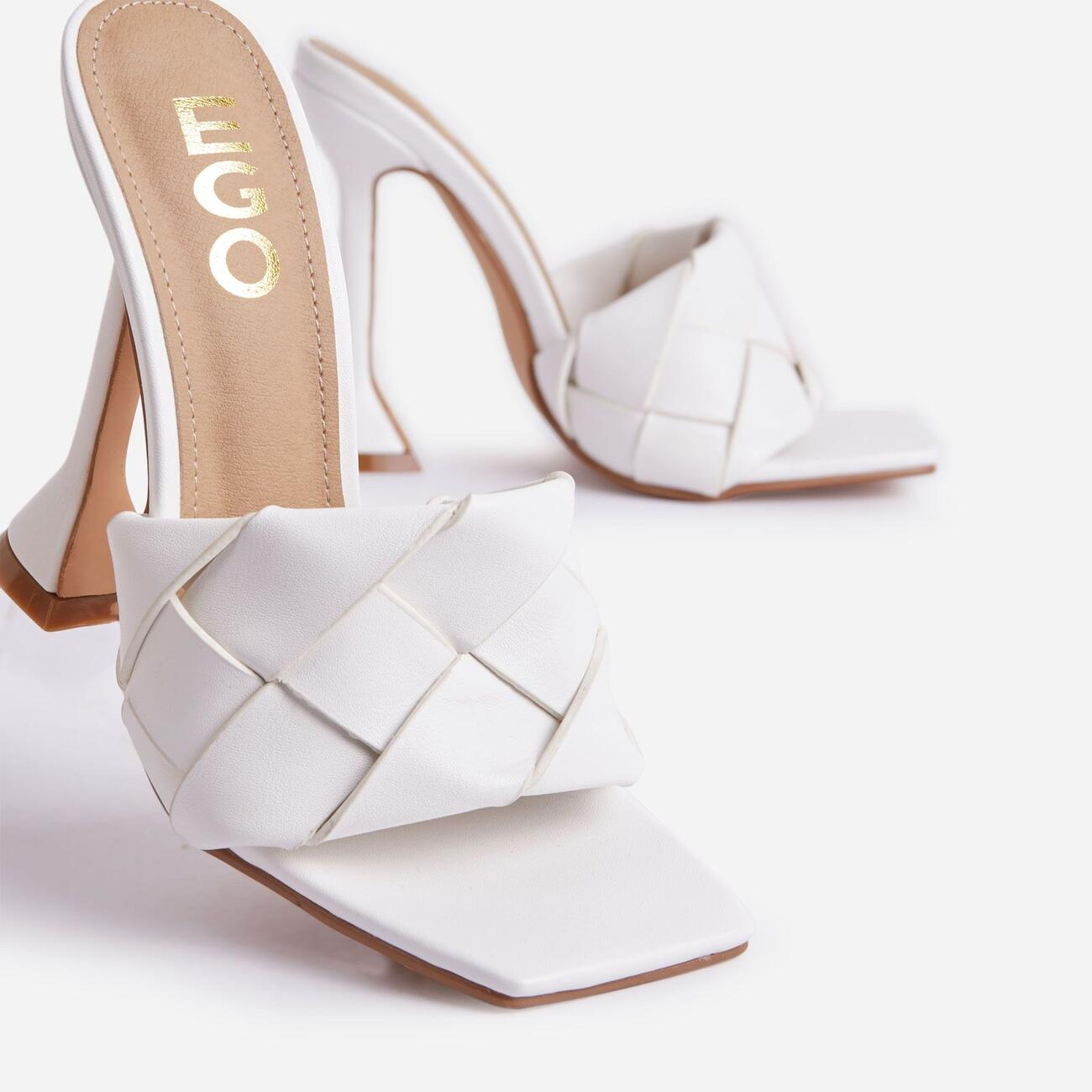 Handled Woven Square Peep Toe Pyramid Heel Mule In White Faux Leather Image 5