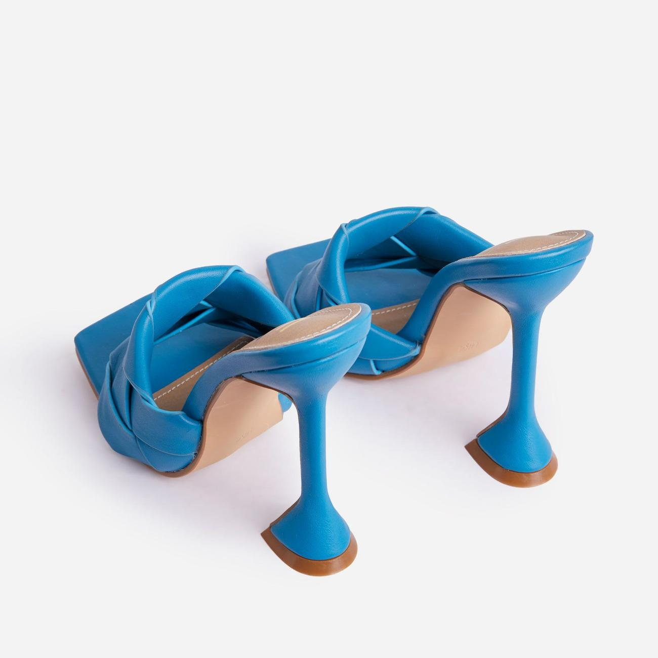Handled Woven Square Peep Toe Pyramid Heel Mule In Blue Faux Leather Image 3