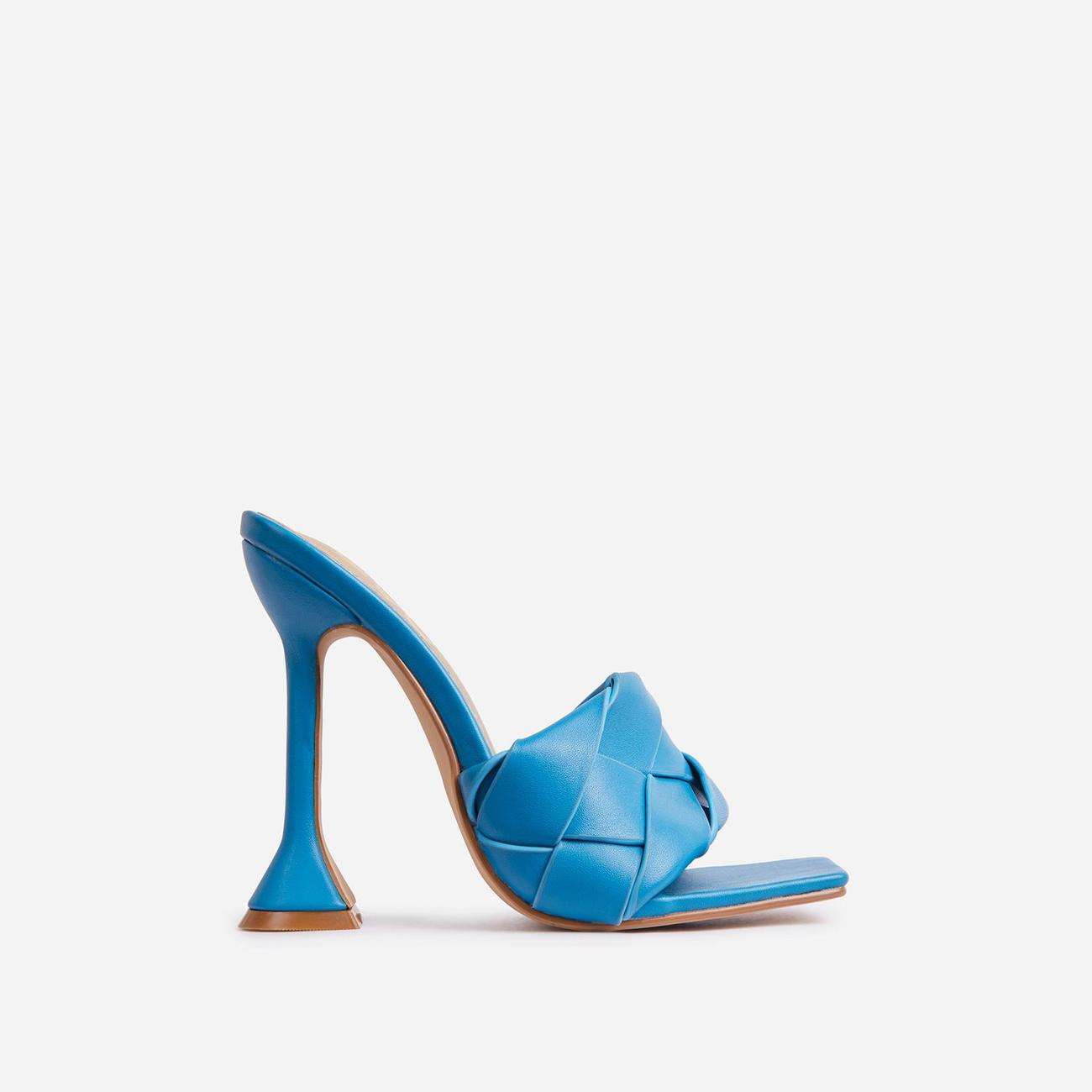 Handled Woven Square Peep Toe Pyramid Heel Mule In Blue Faux Leather Image 1