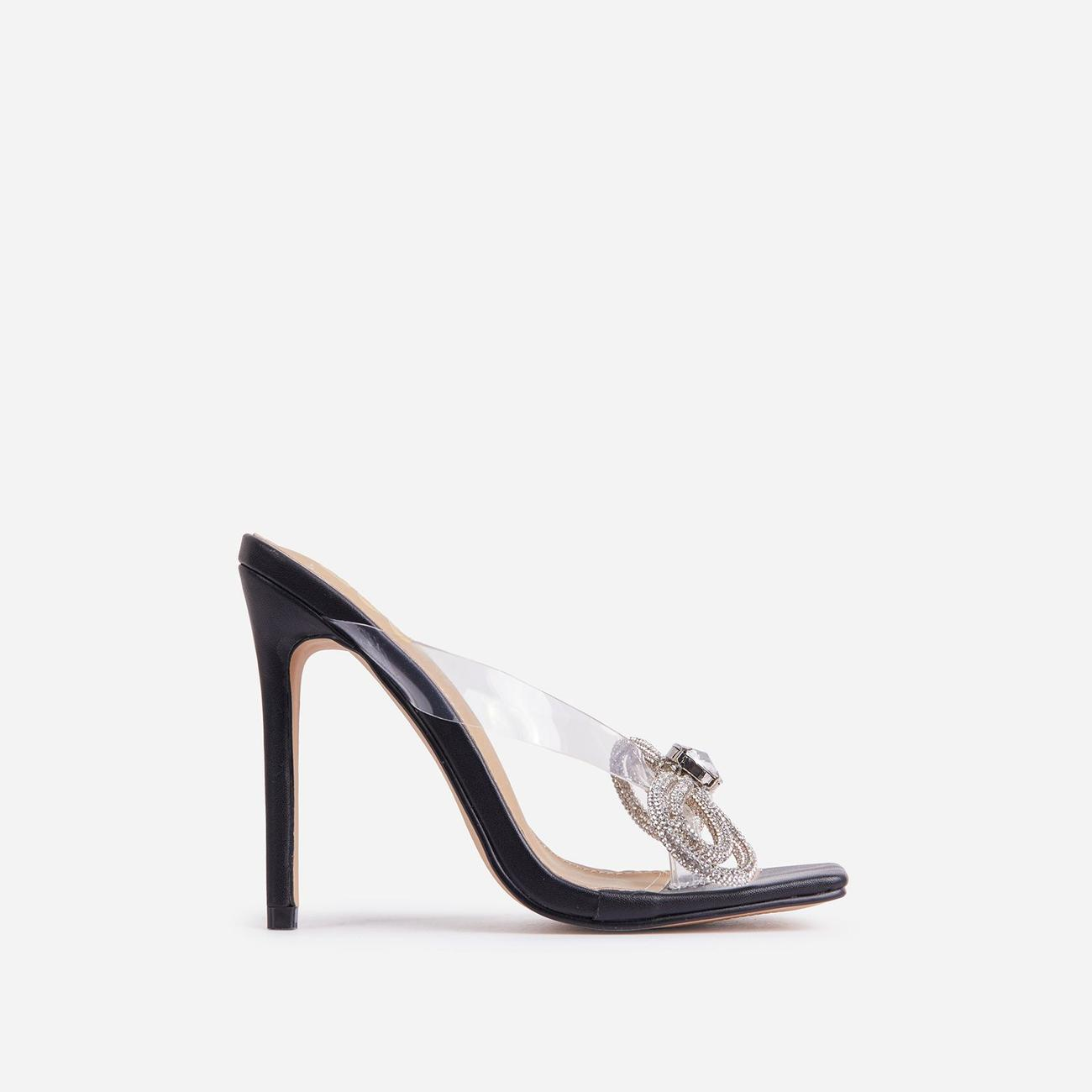 Jasper Diamante Bow Detail Square Toe Clear Perspex Thong Heel Mule In Black Faux Leather Image 1