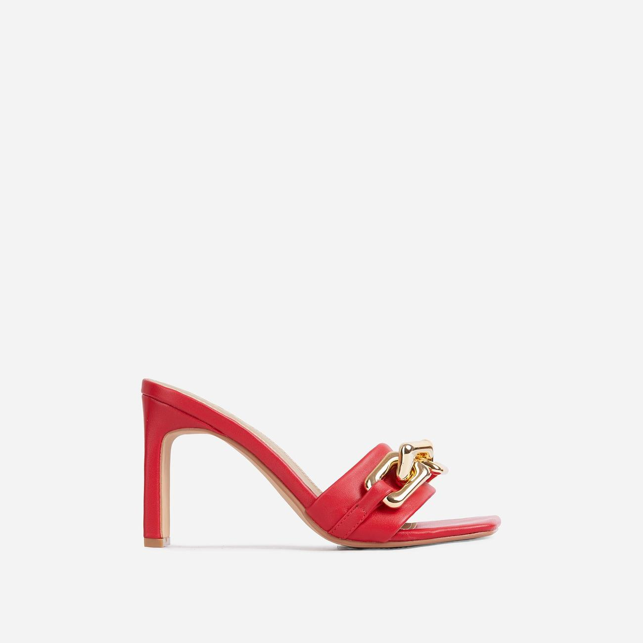 Link-Up Chunky Chain Detail Square Toe Think Block Heel Mule In Red Faux Leather Image 1