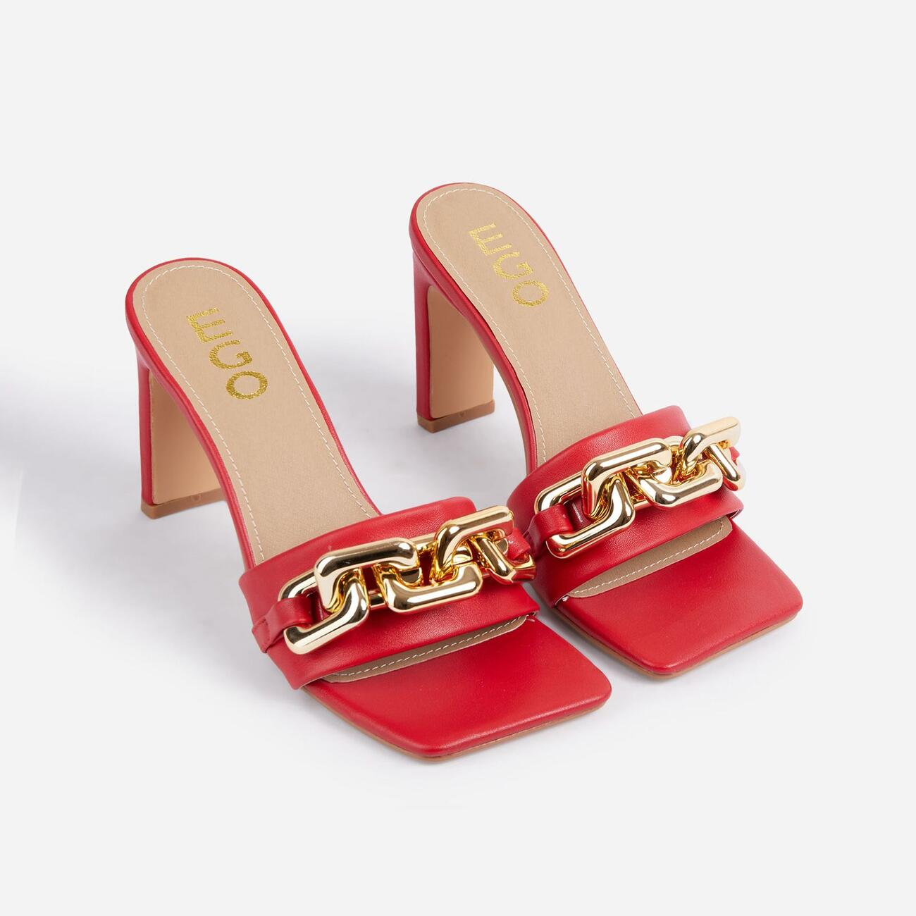 Link-Up Chunky Chain Detail Square Toe Think Block Heel Mule In Red Faux Leather Image 2