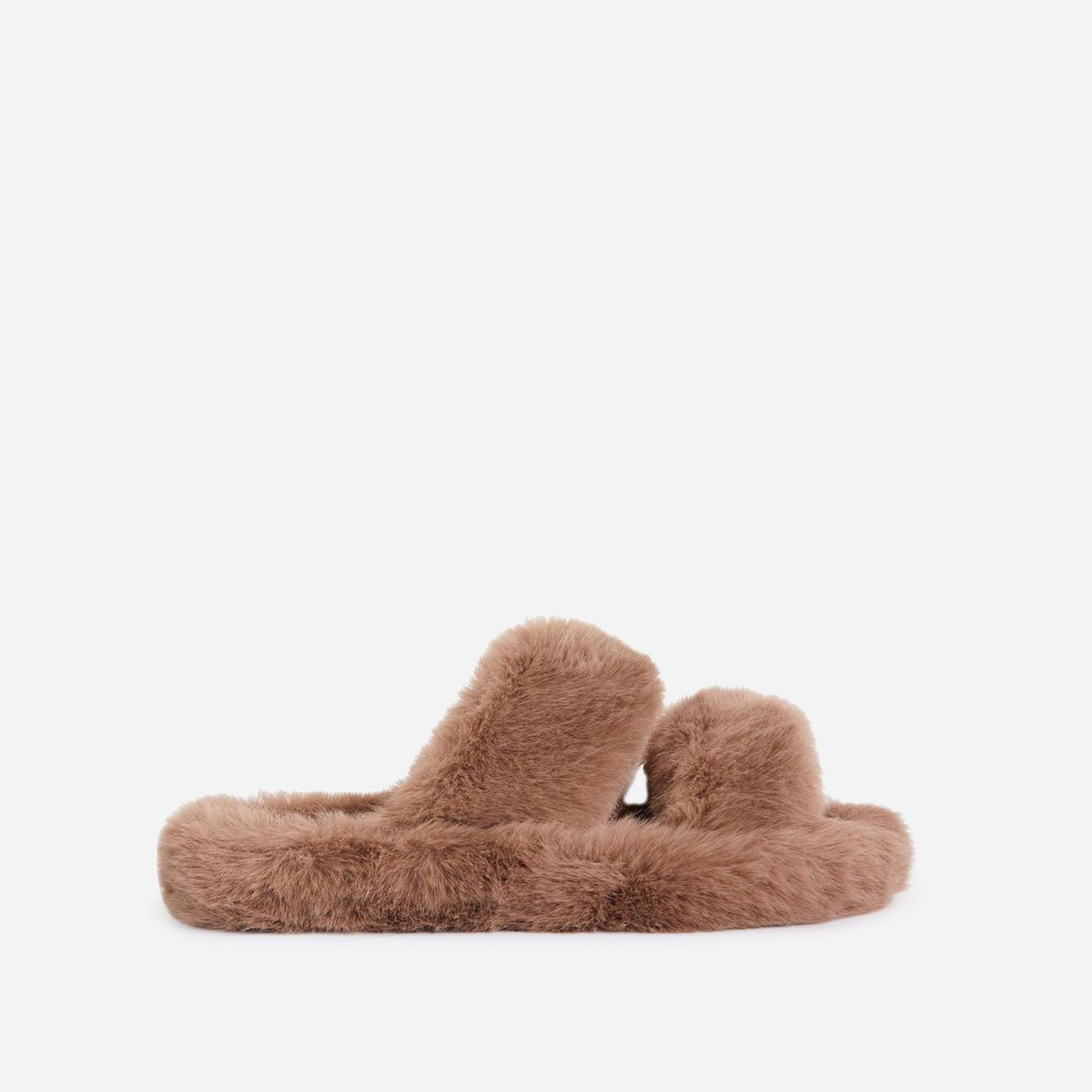 Pamper Fluffy Double Strap Slider Slipper In Nude Faux Fur Image 1