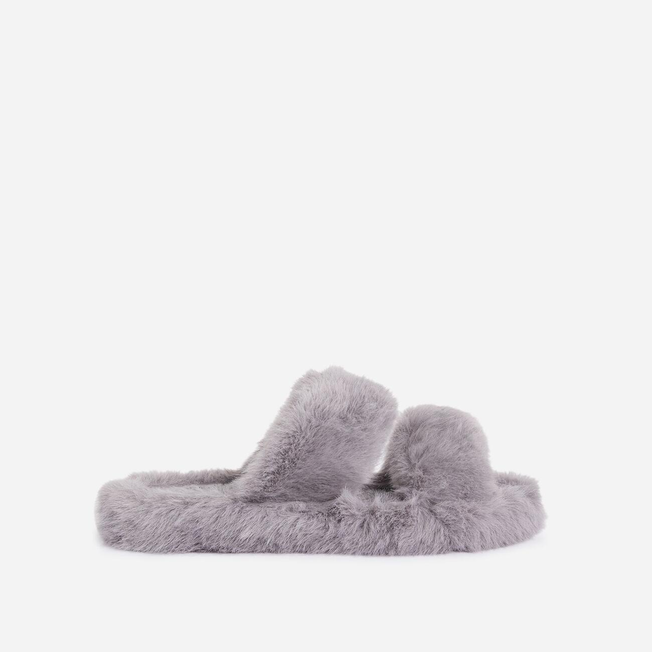 Pamper Fluffy Double Strap Slider Slipper In Grey Faux Fur Image 1