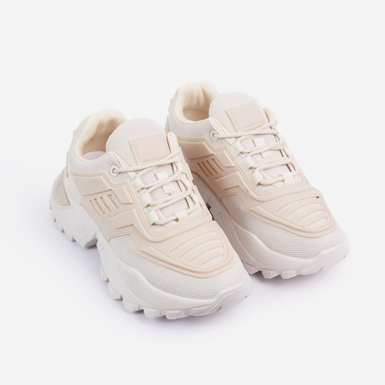 Clout Caged Lace Up Chunky Sole Trainer In Nude Image 2