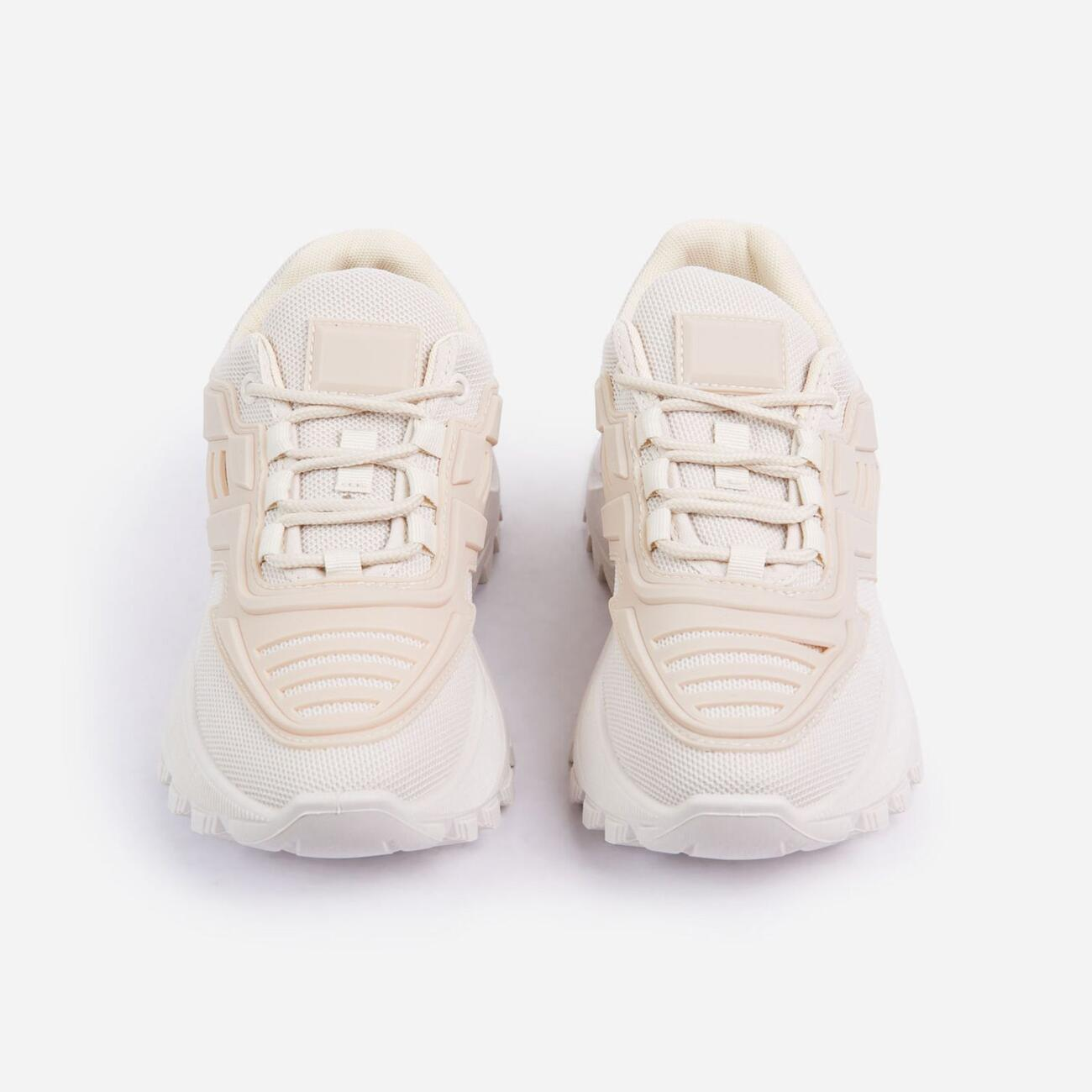 Clout Caged Lace Up Chunky Sole Trainer In Nude Image 4