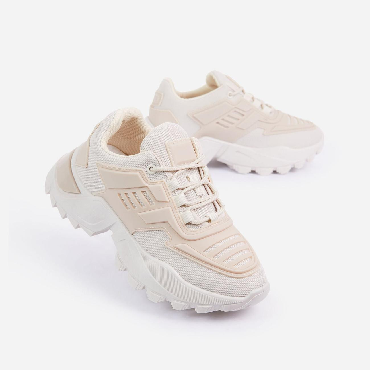 Clout Caged Lace Up Chunky Sole Trainer In Nude Image 5