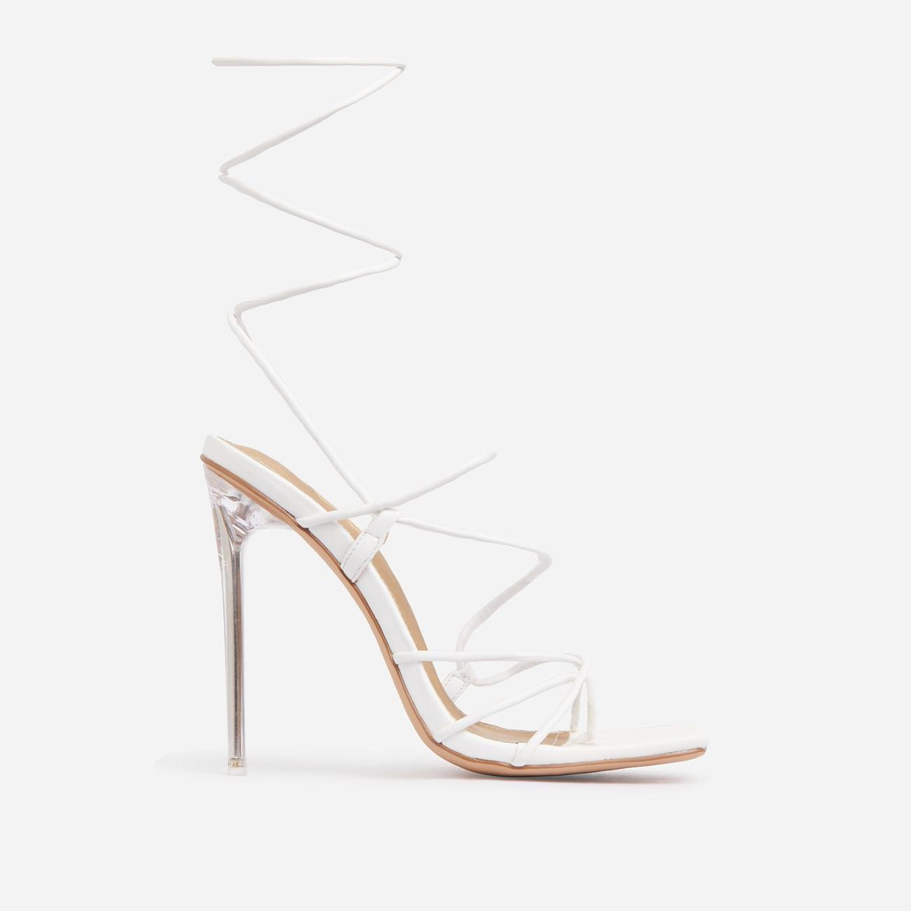 Sunbathe Square Toe Lace Up Clear Perspex Heel In White Faux Leather Image 1