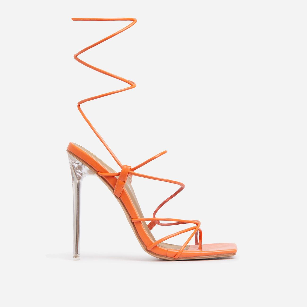 Sunbathe Square Toe Lace Up Clear Perspex Heel In Orange Faux Leather Image 1