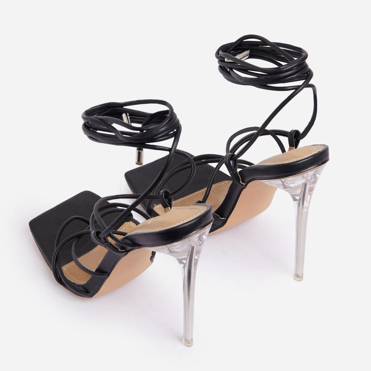 Sunbathe Square Toe Lace Up Clear Perspex Heel In Black Faux Leather Image 3