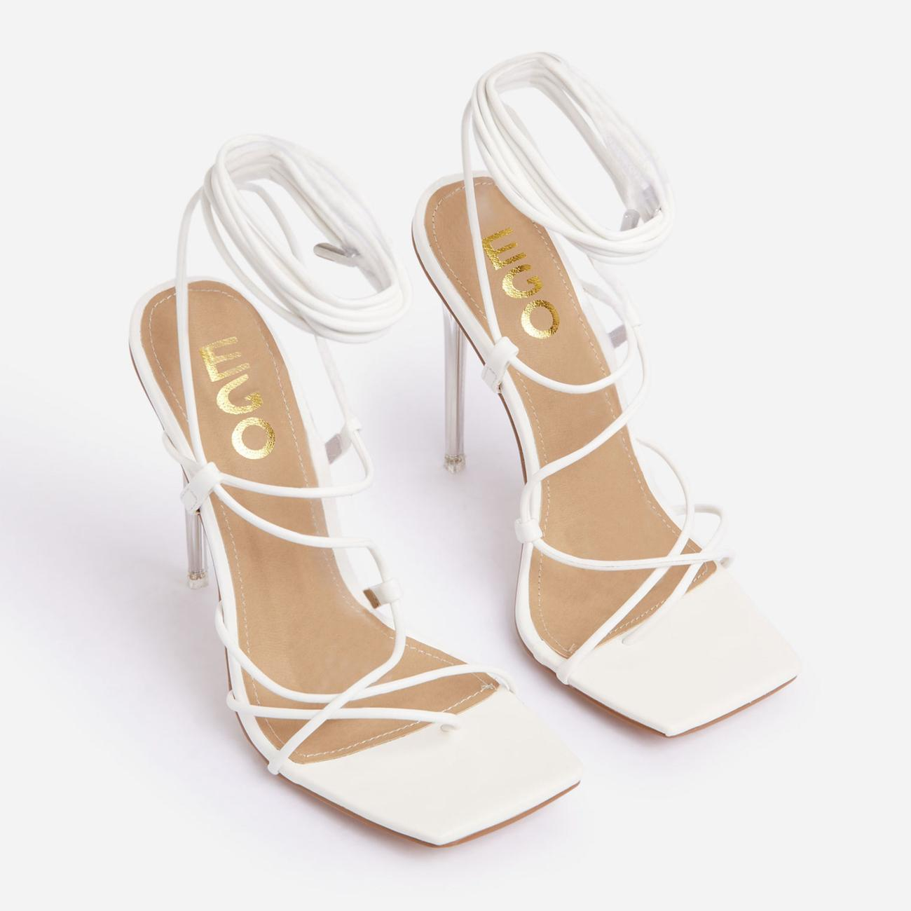 Sunbathe Square Toe Lace Up Clear Perspex Heel In White Faux Leather Image 2