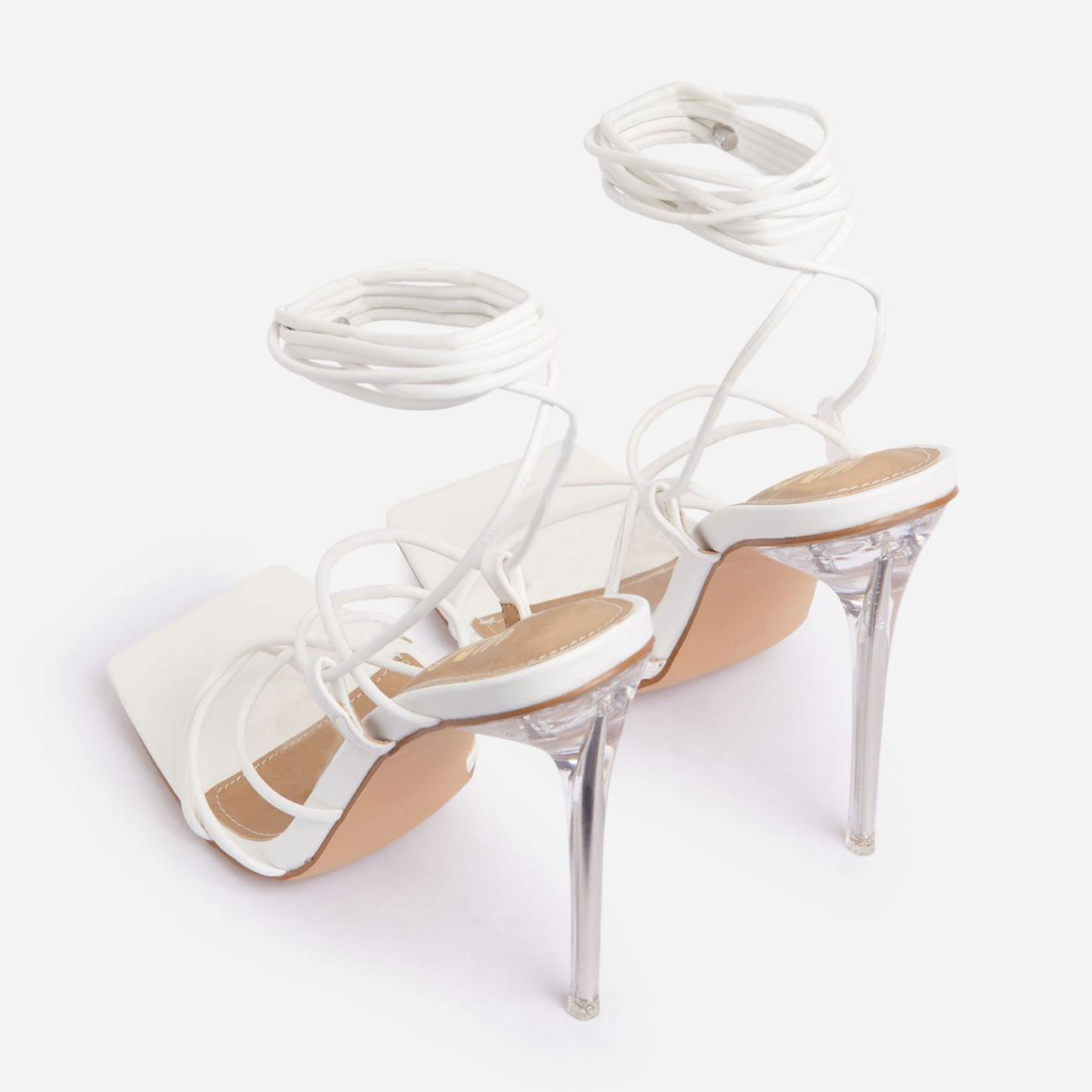 Sunbathe Square Toe Lace Up Clear Perspex Heel In White Faux Leather Image 3
