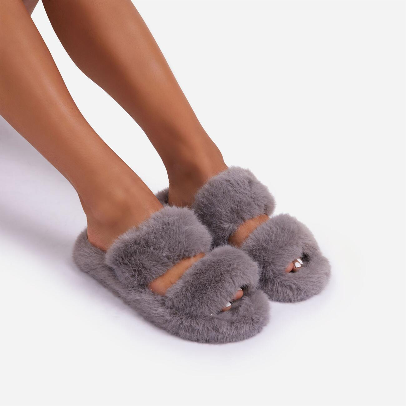 Pamper Fluffy Double Strap Slider Slipper In Grey Faux Fur Image 2