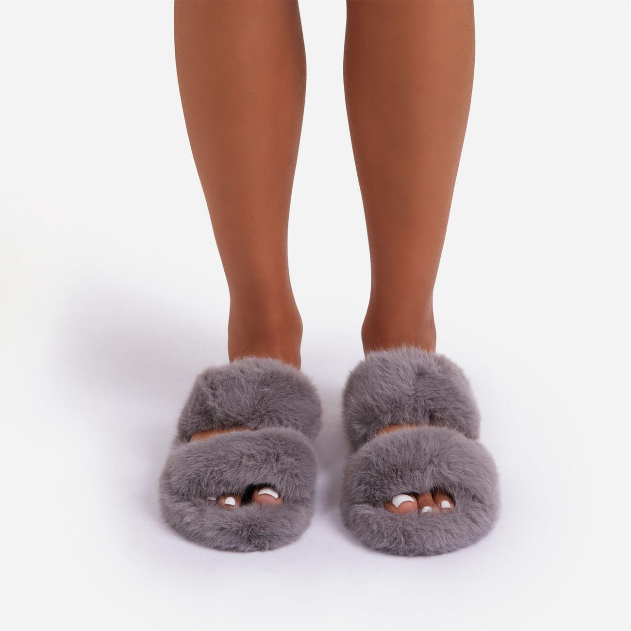 Pamper Fluffy Double Strap Slider Slipper In Grey Faux Fur Image 4