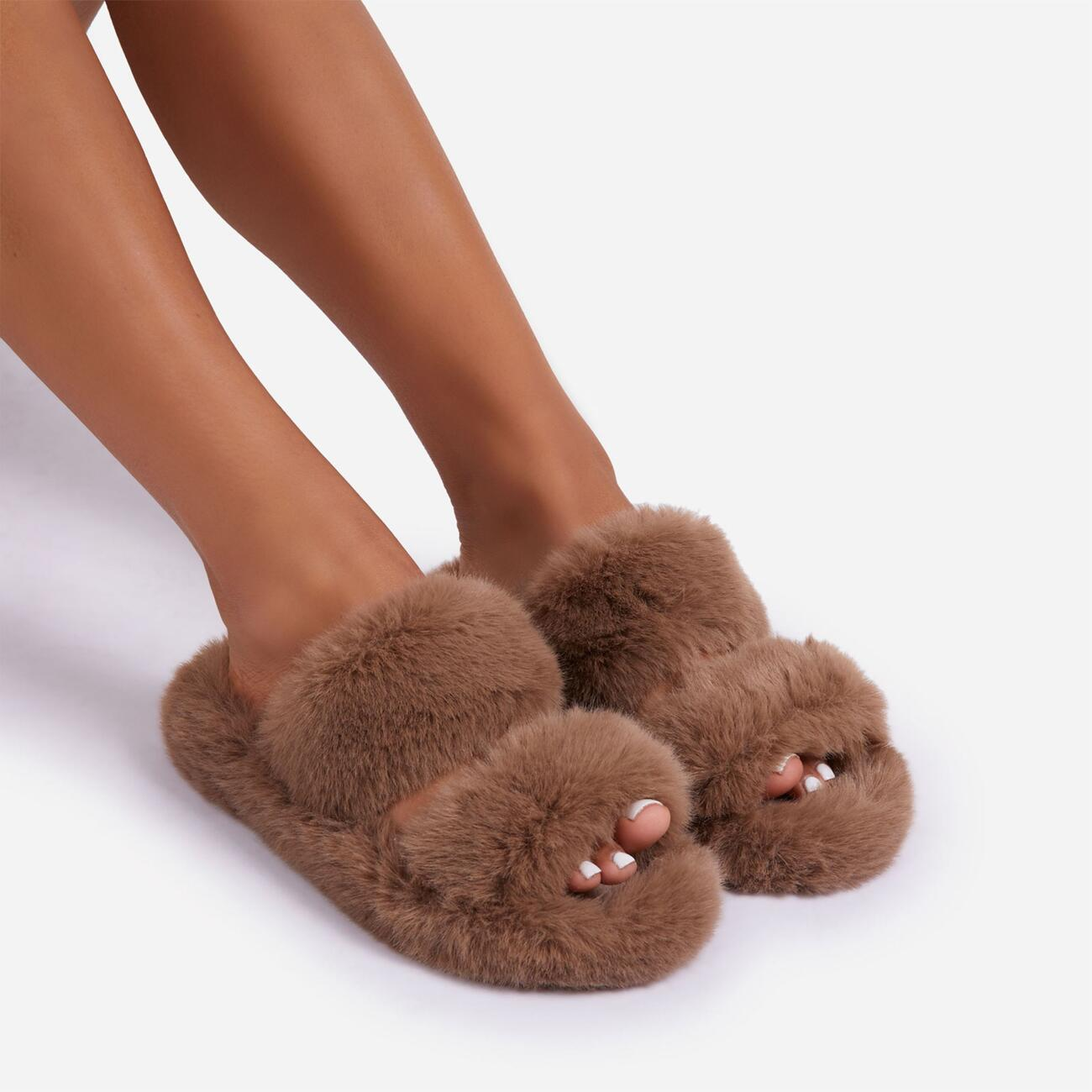 Pamper Fluffy Double Strap Slider Slipper In Nude Faux Fur Image 2