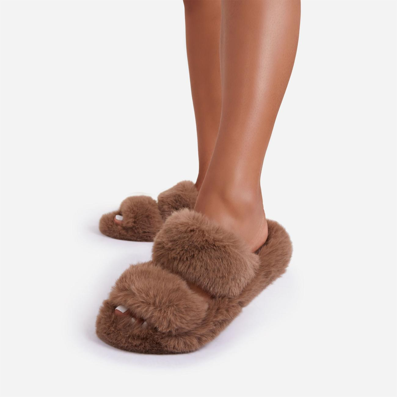 Pamper Fluffy Double Strap Slider Slipper In Nude Faux Fur Image 3