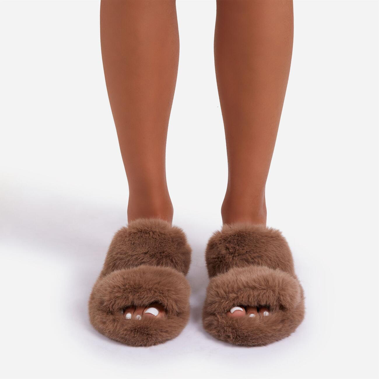 Pamper Fluffy Double Strap Slider Slipper In Nude Faux Fur Image 4