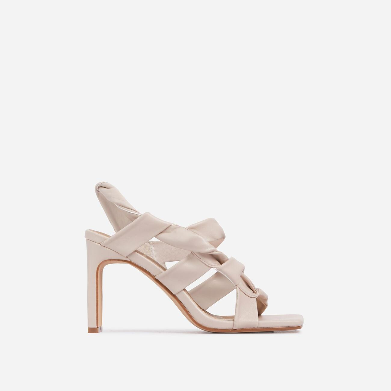 Ripple Strappy Caged Square Toe Heel Mule In Nude Faux Leather Image 1