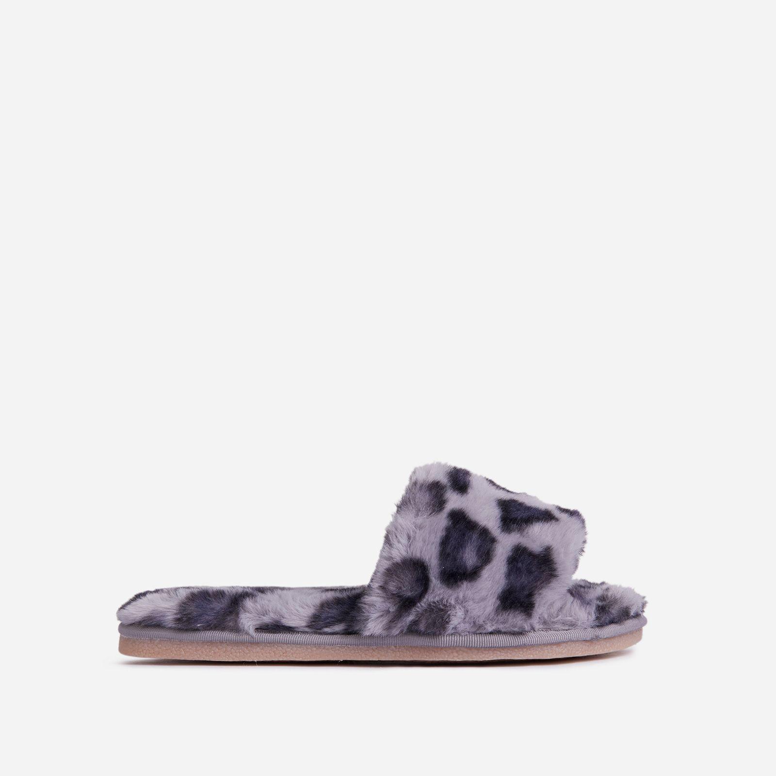 Grey Leopard Print Faux Fur