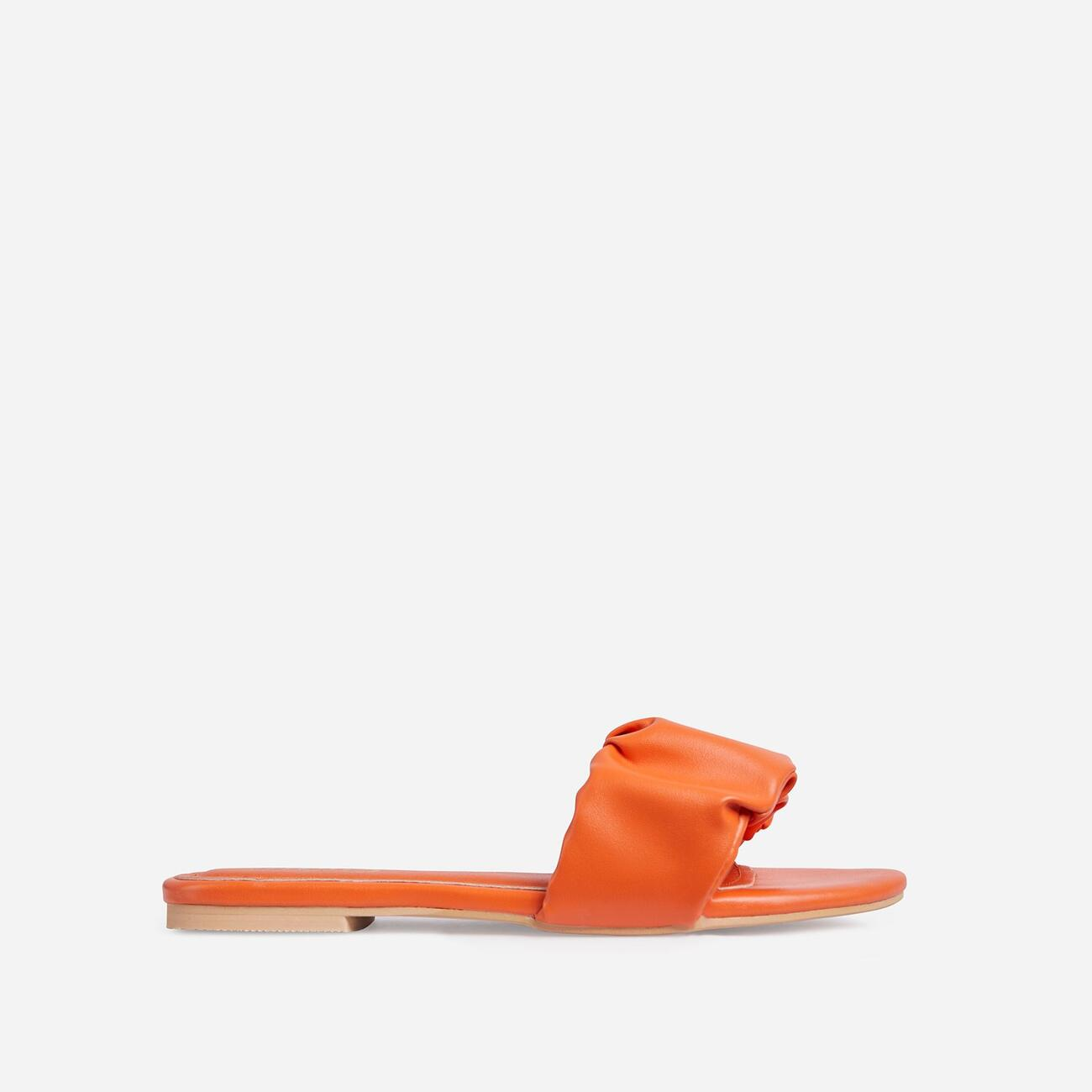 Tender Ruched Flat Slider Sandal In Orange Faux Leather Image 1