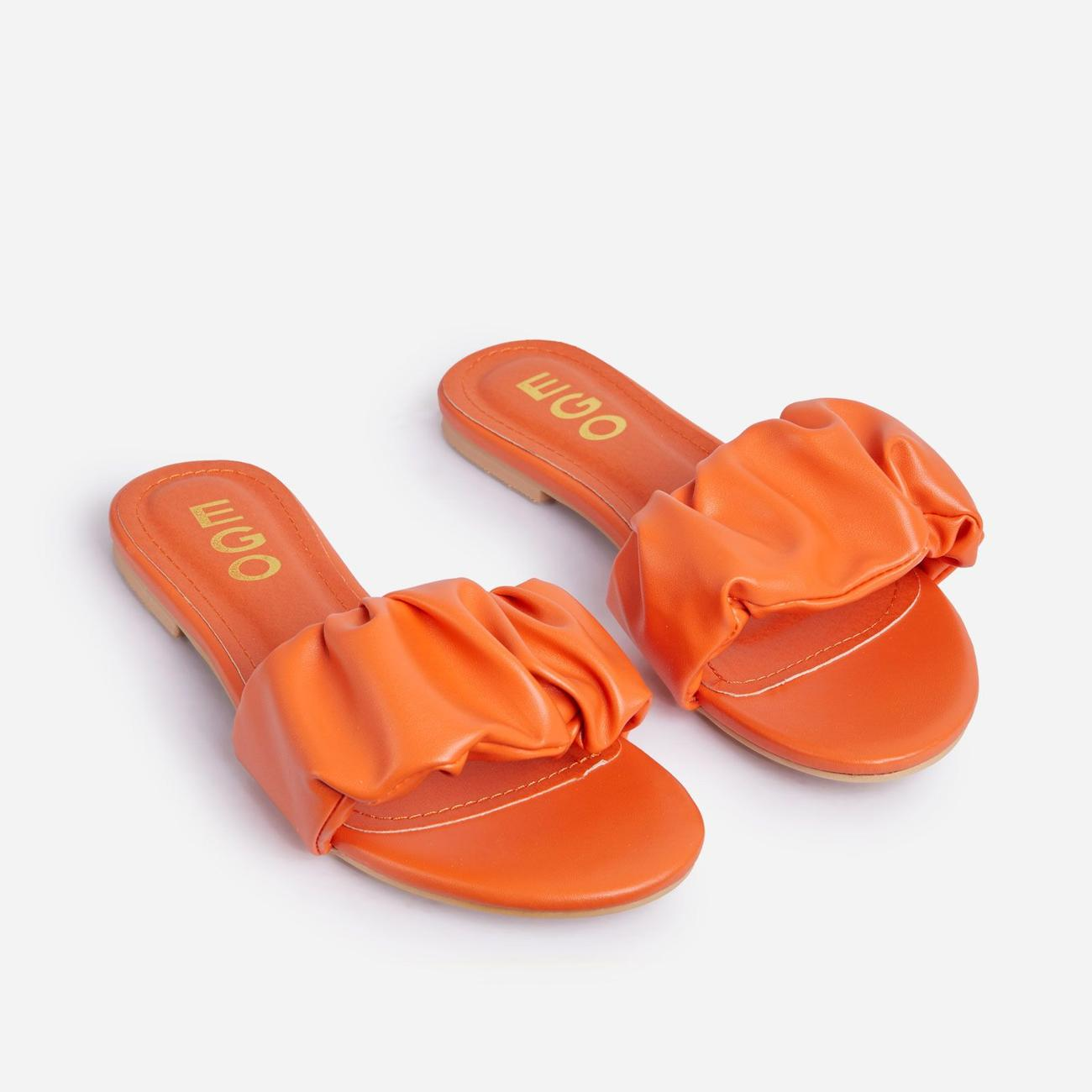 Tender Ruched Flat Slider Sandal In Orange Faux Leather Image 2