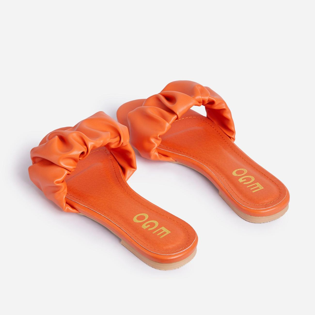 Tender Ruched Flat Slider Sandal In Orange Faux Leather Image 3