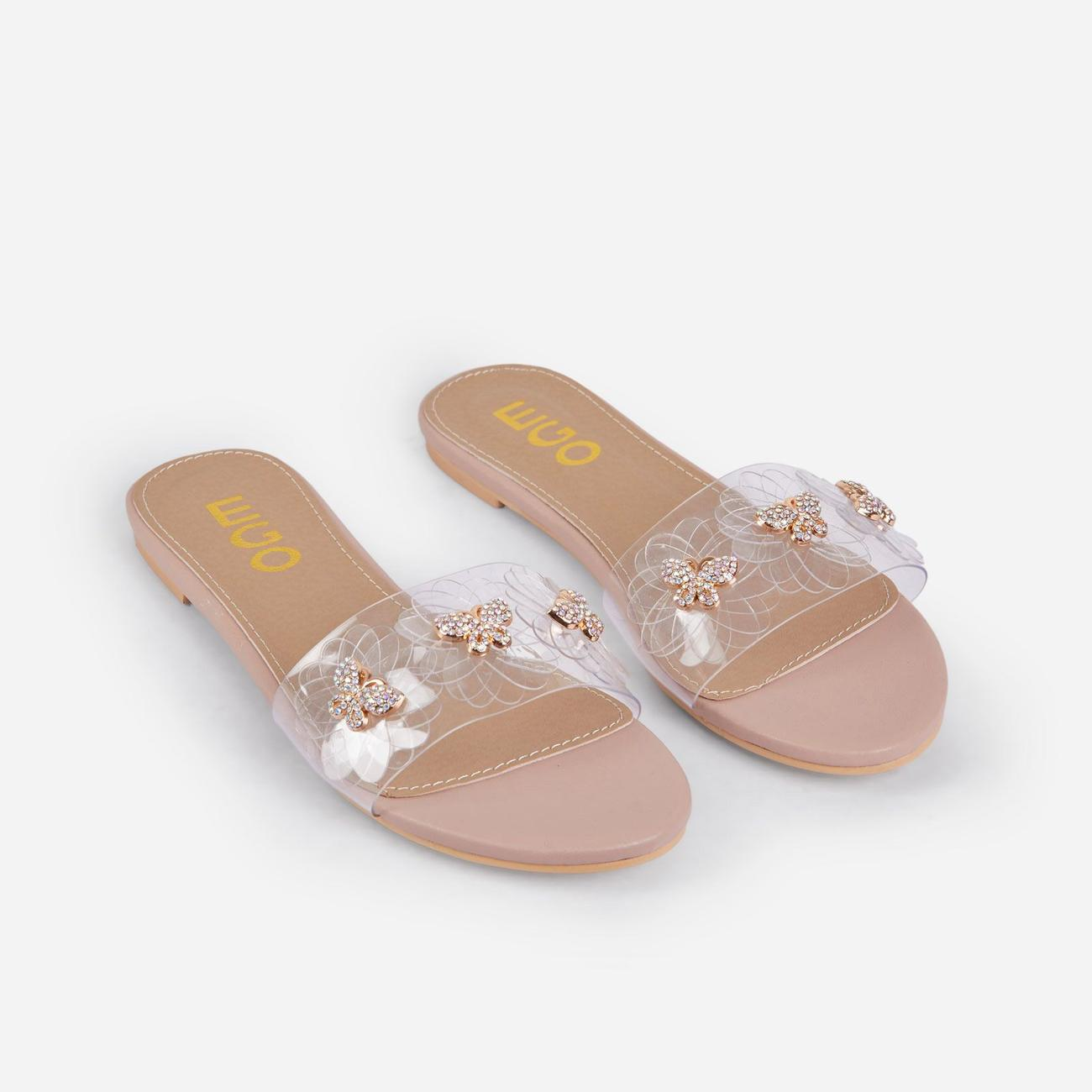Lily Diamante Butterfly Detail Floral Clear Perspex Flat Slider Sandal In Nude Faux Leather Image 2