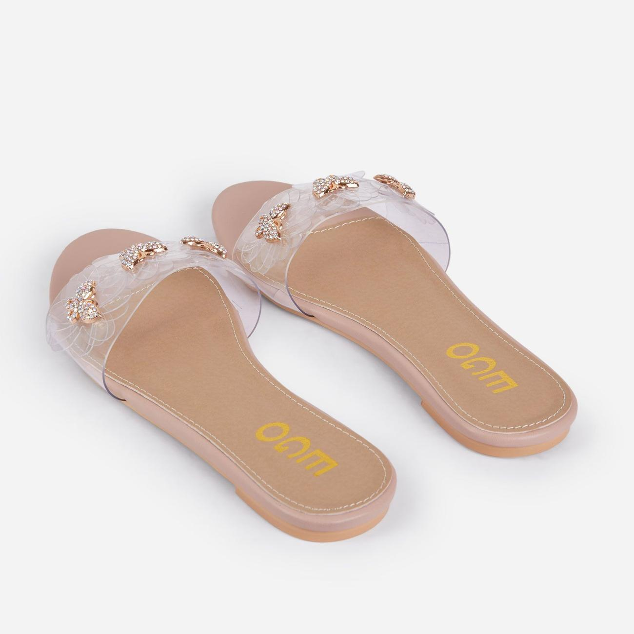 Lily Diamante Butterfly Detail Floral Clear Perspex Flat Slider Sandal In Nude Faux Leather Image 3