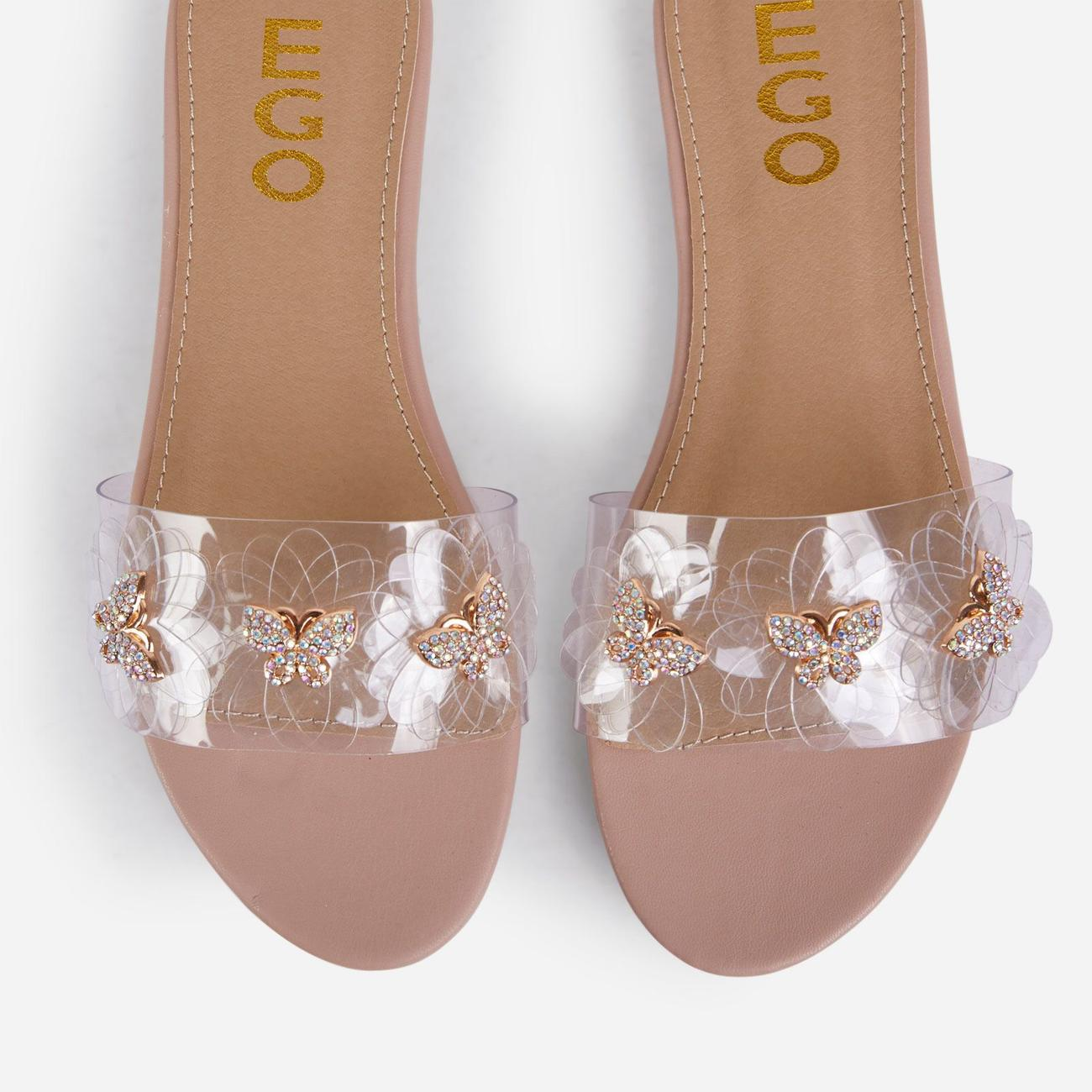 Lily Diamante Butterfly Detail Floral Clear Perspex Flat Slider Sandal In Nude Faux Leather Image 4