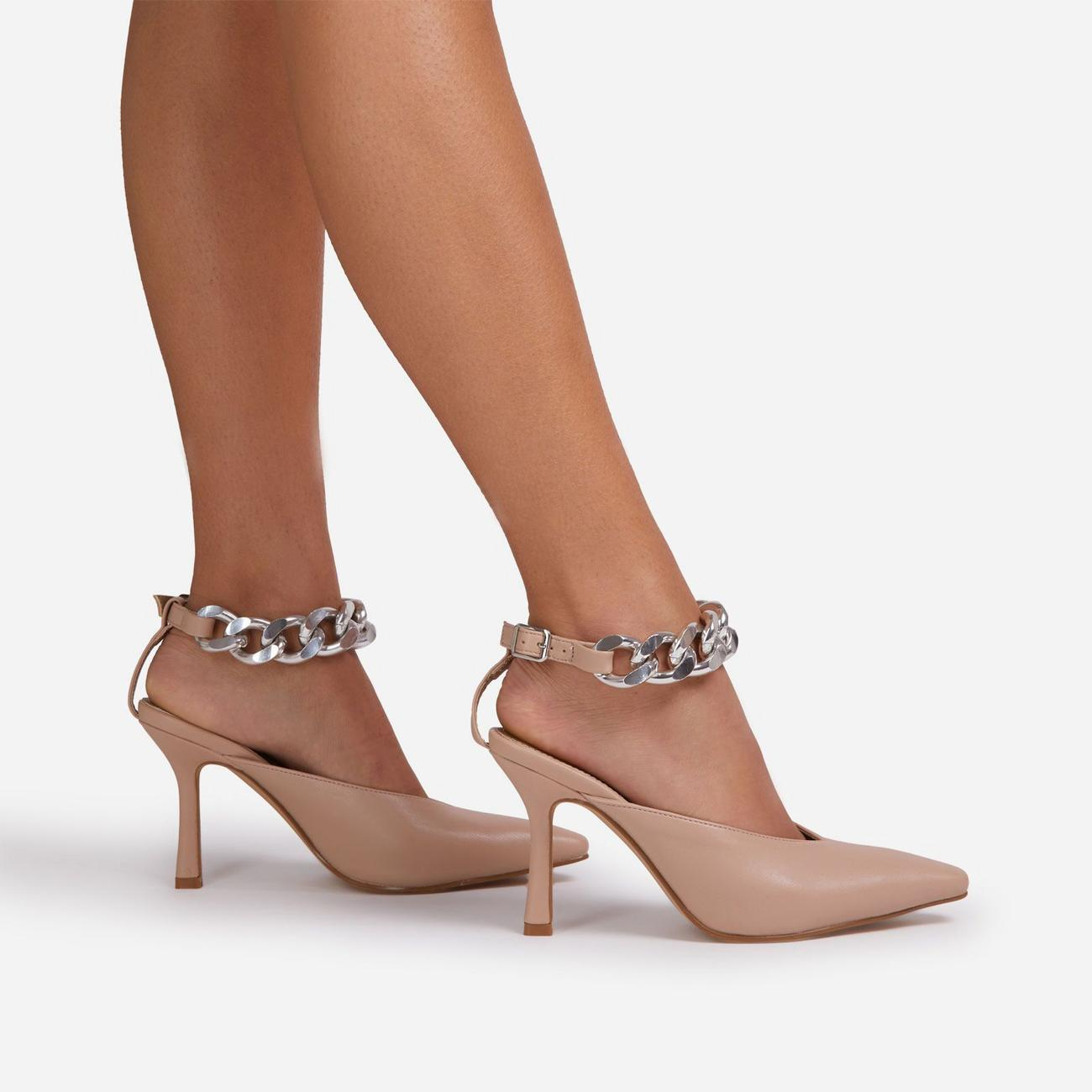 Nude Clear Strap Pu Point Toe High Heels