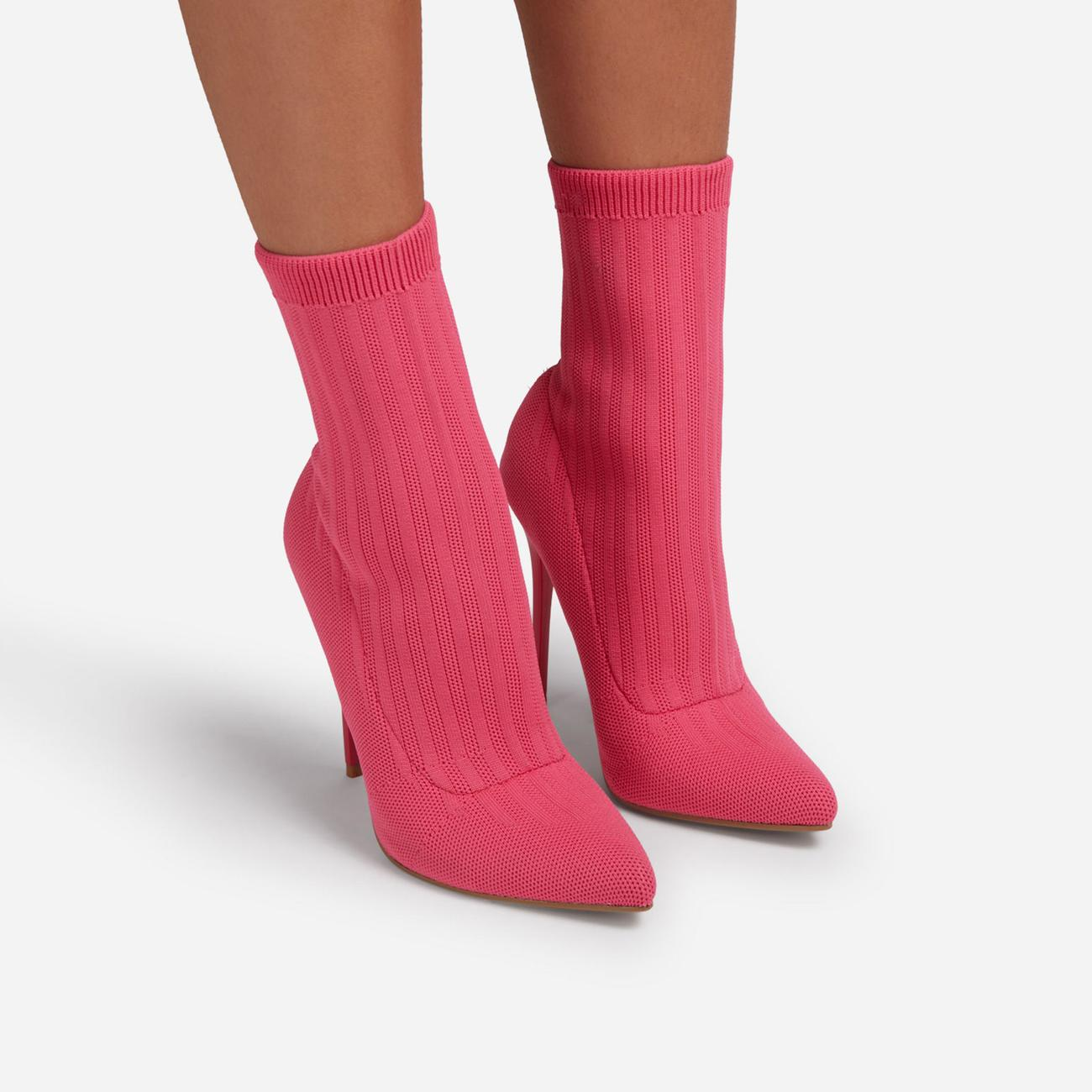 Ricochet Pointed Toe Ankle Sock Boot In Pink Ribbed Knit Image 3