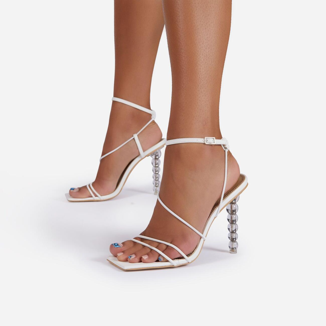 Drama-Queen Barely There Square Toe Clear Perspex Sculptured Heel In White Faux Leather Image 1
