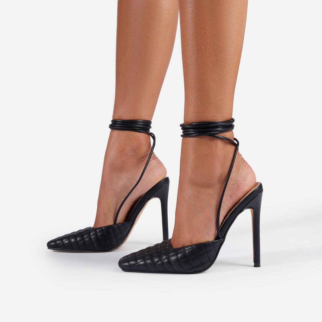 Lifted Lace Up Quilted Pointed Toe Court Heel In Black Faux Leather Image 2