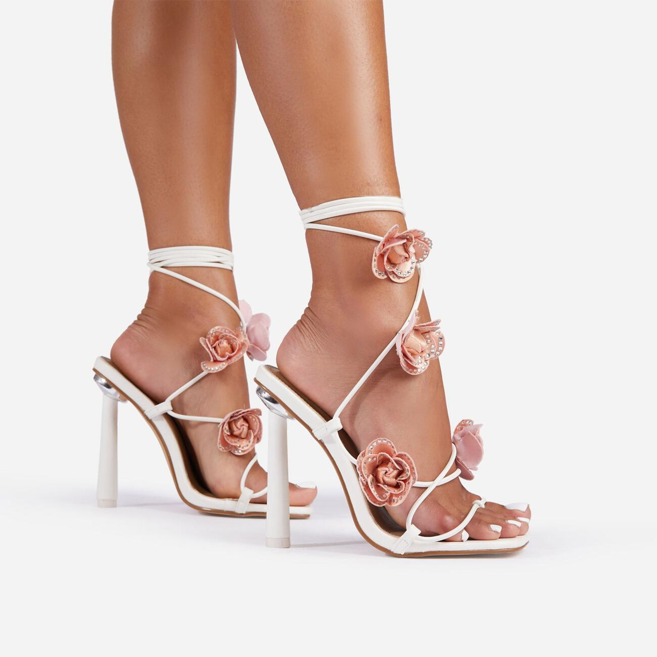 Rose Whip Embellished Floral Detail Lace Up Heel in White Faux Leather Image 2