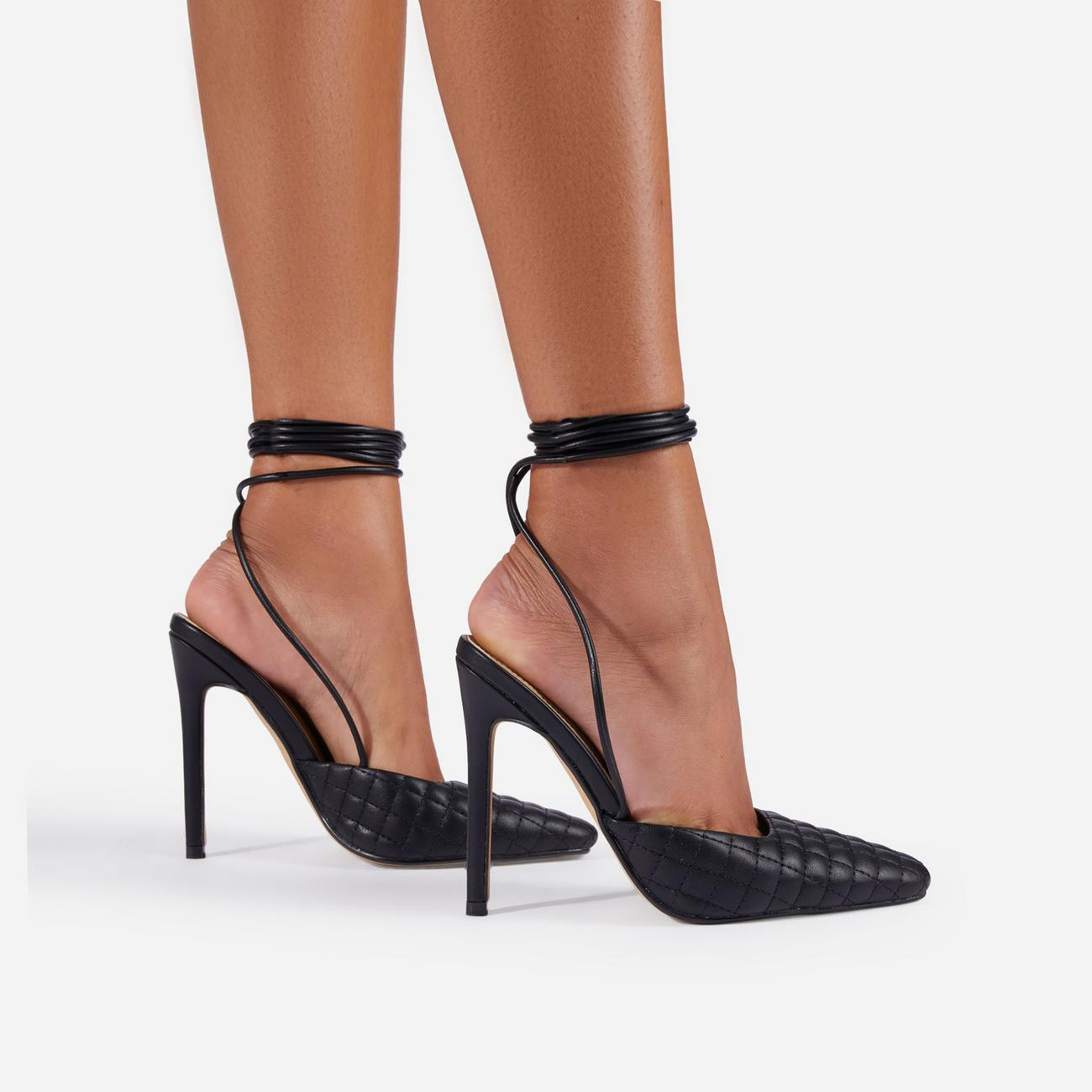 Lifted Lace Up Quilted Pointed Toe Court Heel In Black Faux Leather Image 1