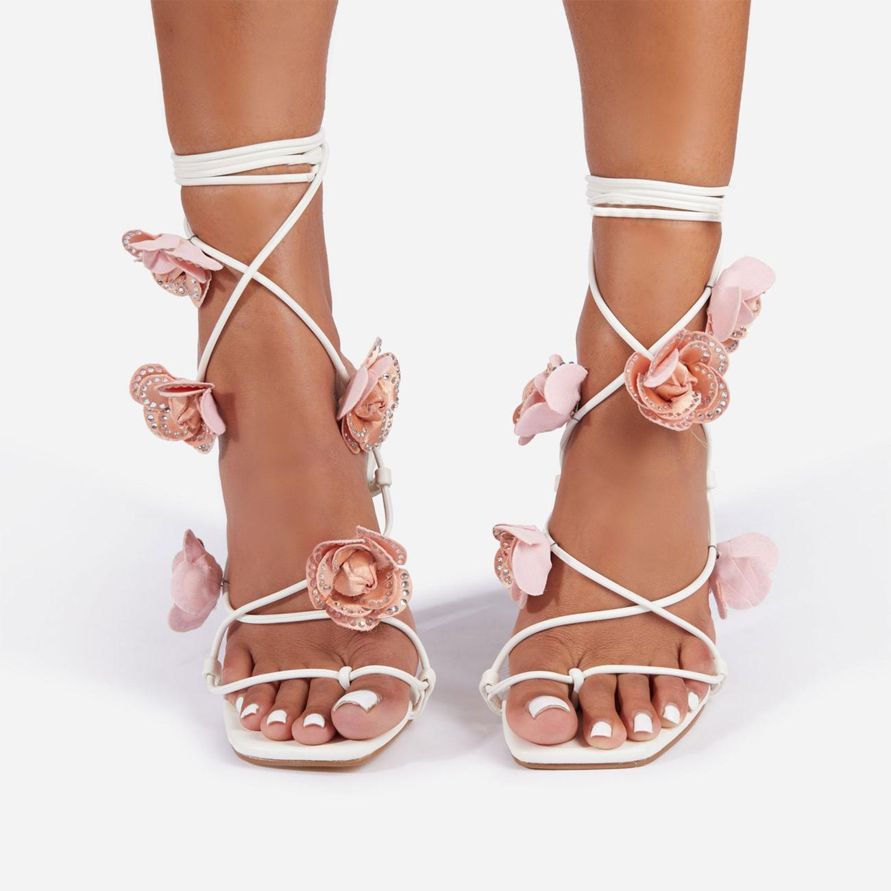 Rose Whip Embellished Floral Detail Lace Up Heel in White Faux Leather Image 3