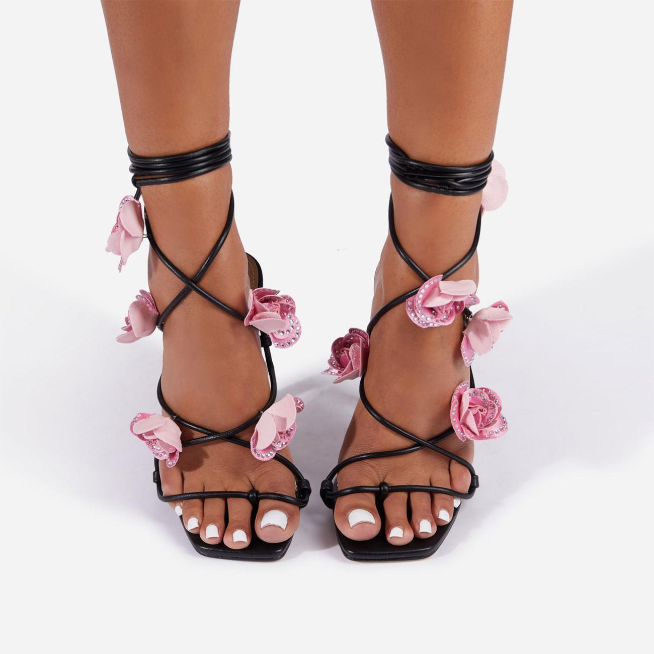 Rose Whip Embellished Floral Detail Lace Up Heel in Black Faux Leather Image 3