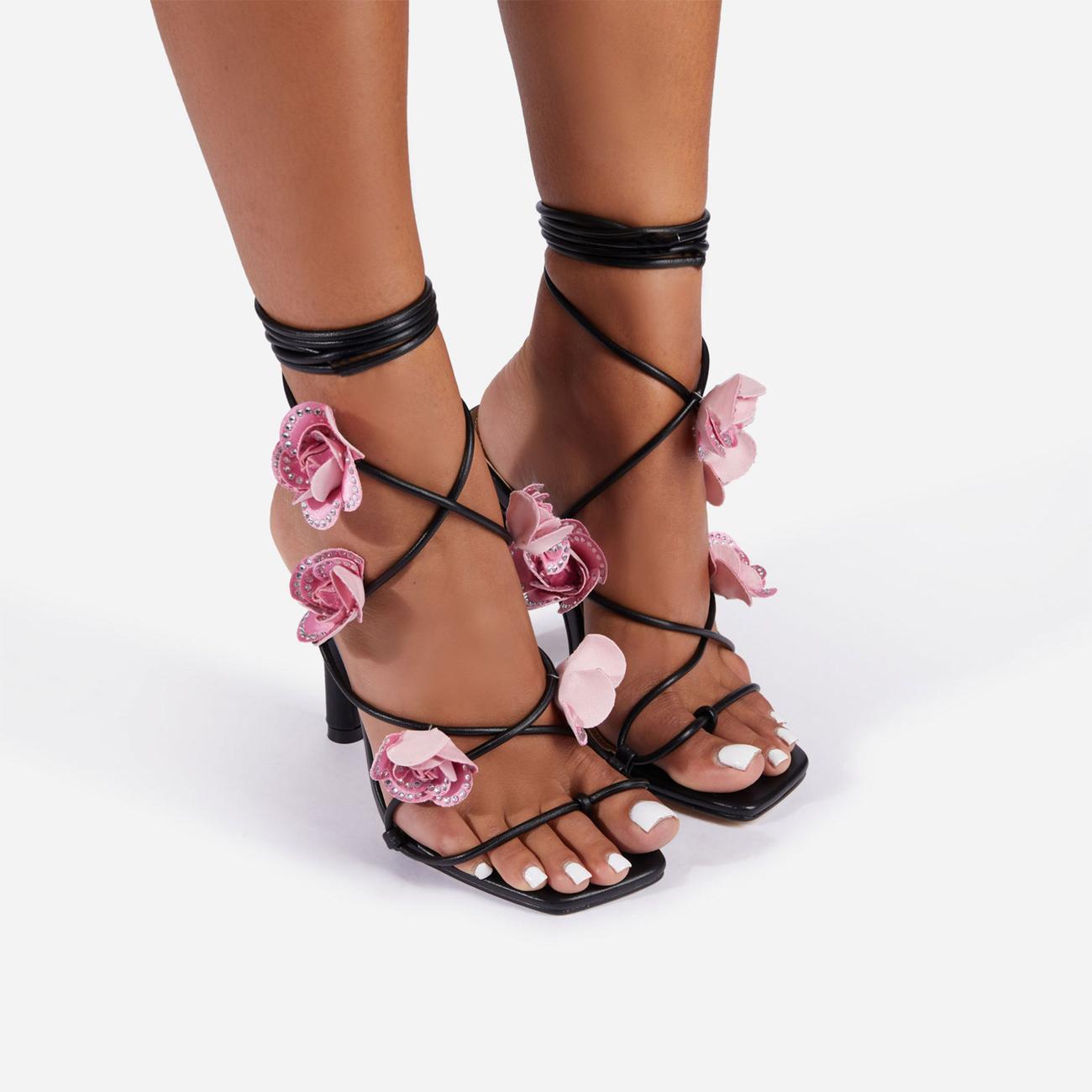 Rose Whip Embellished Floral Detail Lace Up Heel in Black Faux Leather Image 4