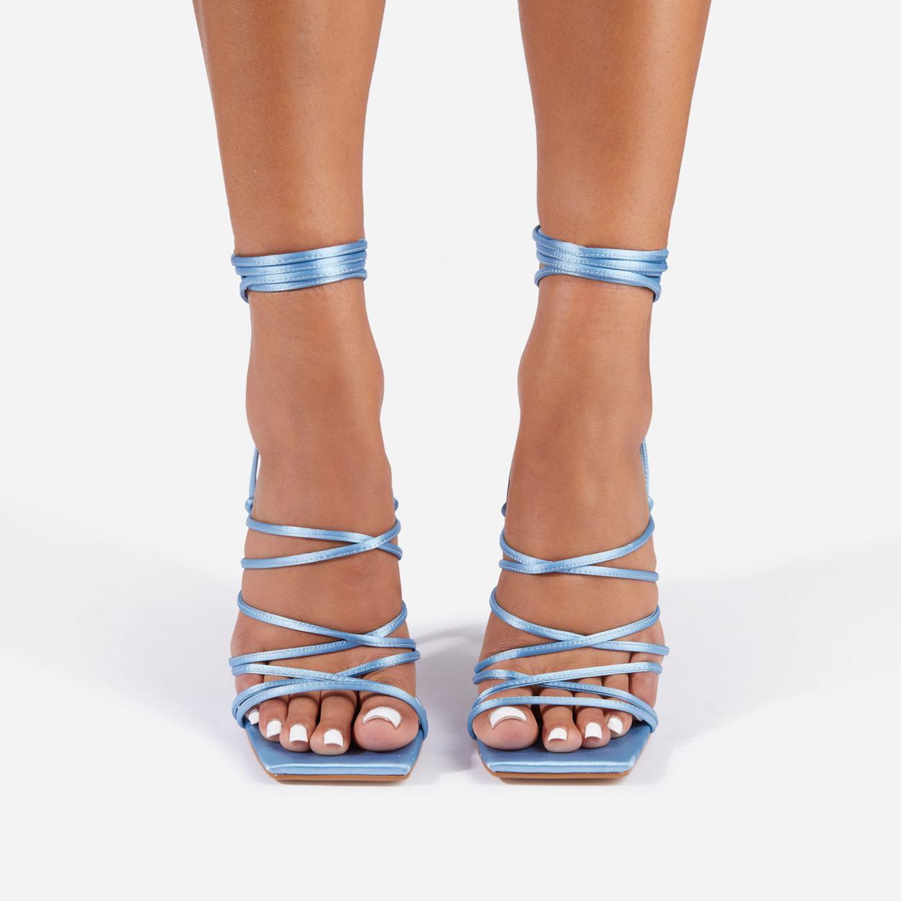 Donatella Strappy Lace Up Square Toe Heel In Blue Satin Image 3
