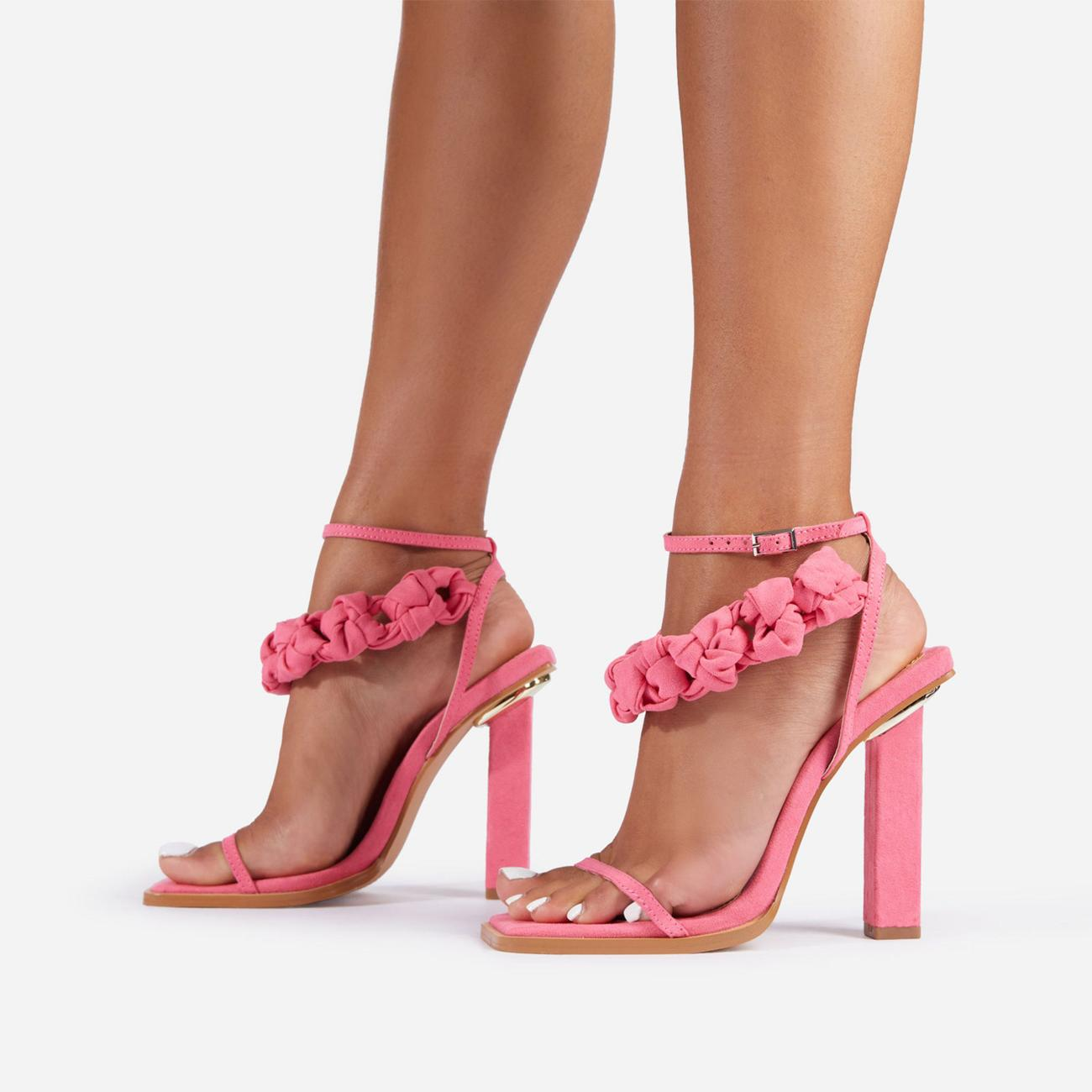 Astra Woven Strap Detail Square Toe Block Heel In Pink Faux Suede Image 1