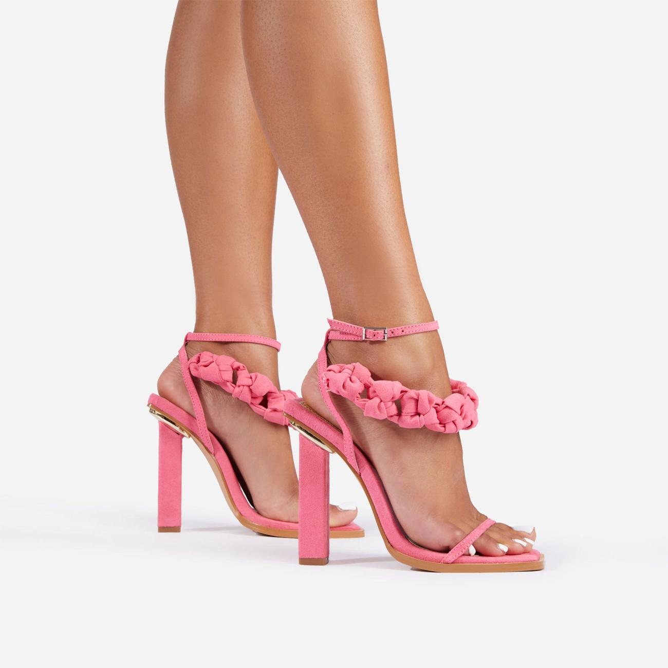 Astra Woven Strap Detail Square Toe Block Heel In Pink Faux Suede Image 2