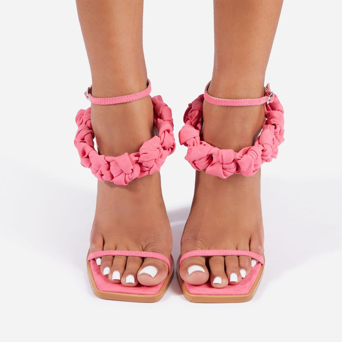 Astra Woven Strap Detail Square Toe Block Heel In Pink Faux Suede Image 3