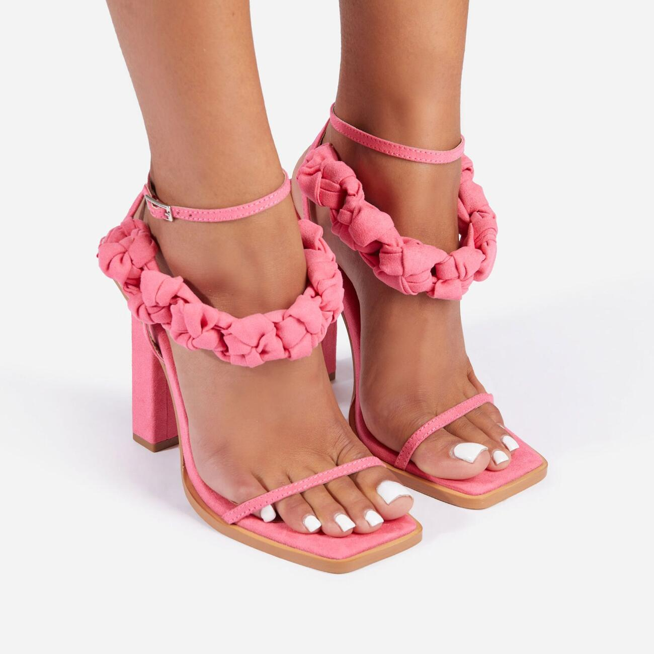 Astra Woven Strap Detail Square Toe Block Heel In Pink Faux Suede Image 4