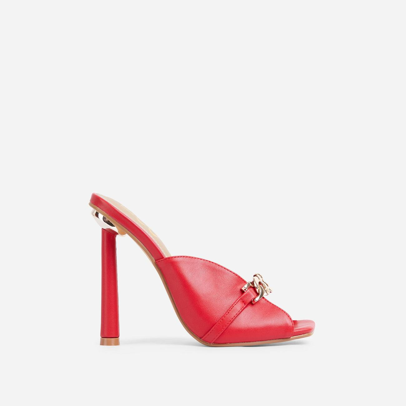 Gossip Chain Detail Square Peep Toe Heel Mule In Red Faux Leather Image 1