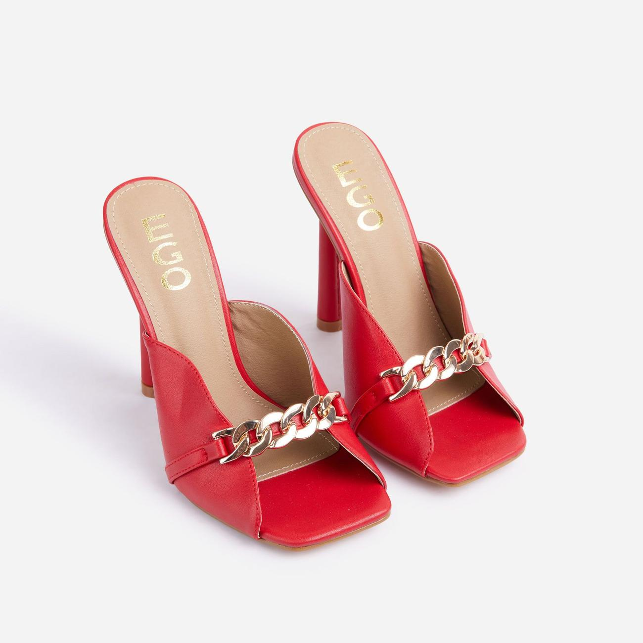 Gossip Chain Detail Square Peep Toe Heel Mule In Red Faux Leather Image 2