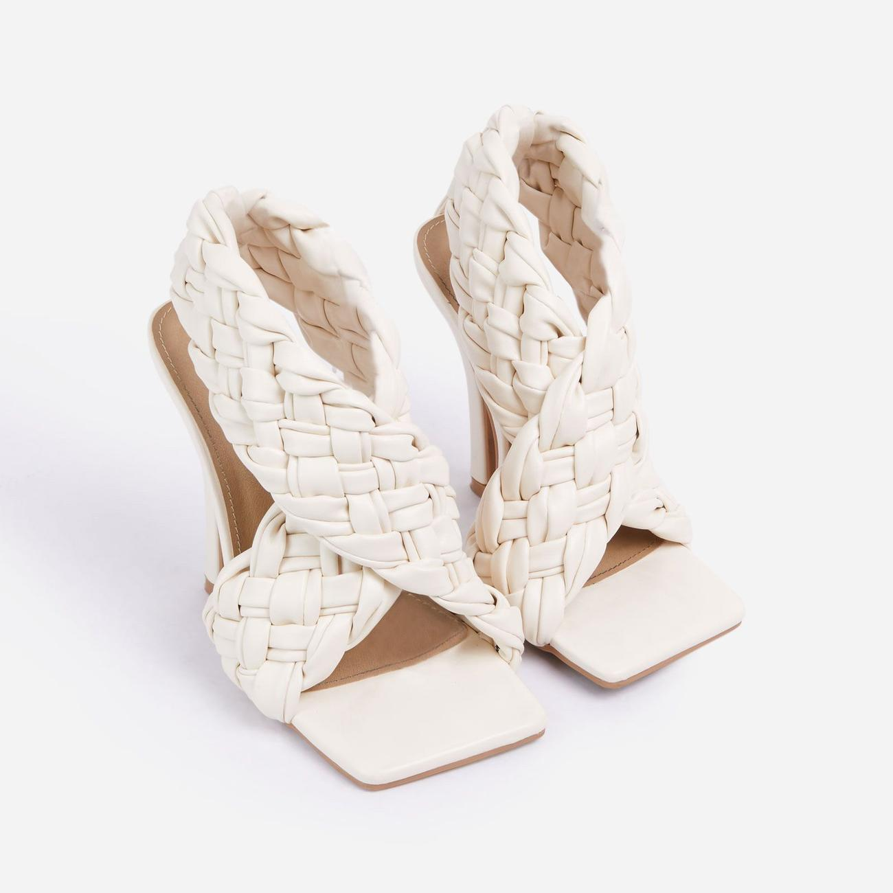 Impress Square Toe Woven Wrap Heel In Nude Faux Leather Image 2
