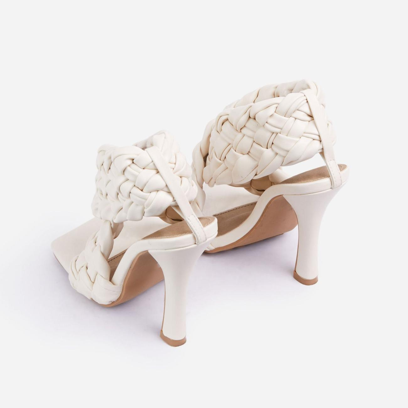 Impress Square Toe Woven Wrap Heel In Nude Faux Leather Image 3