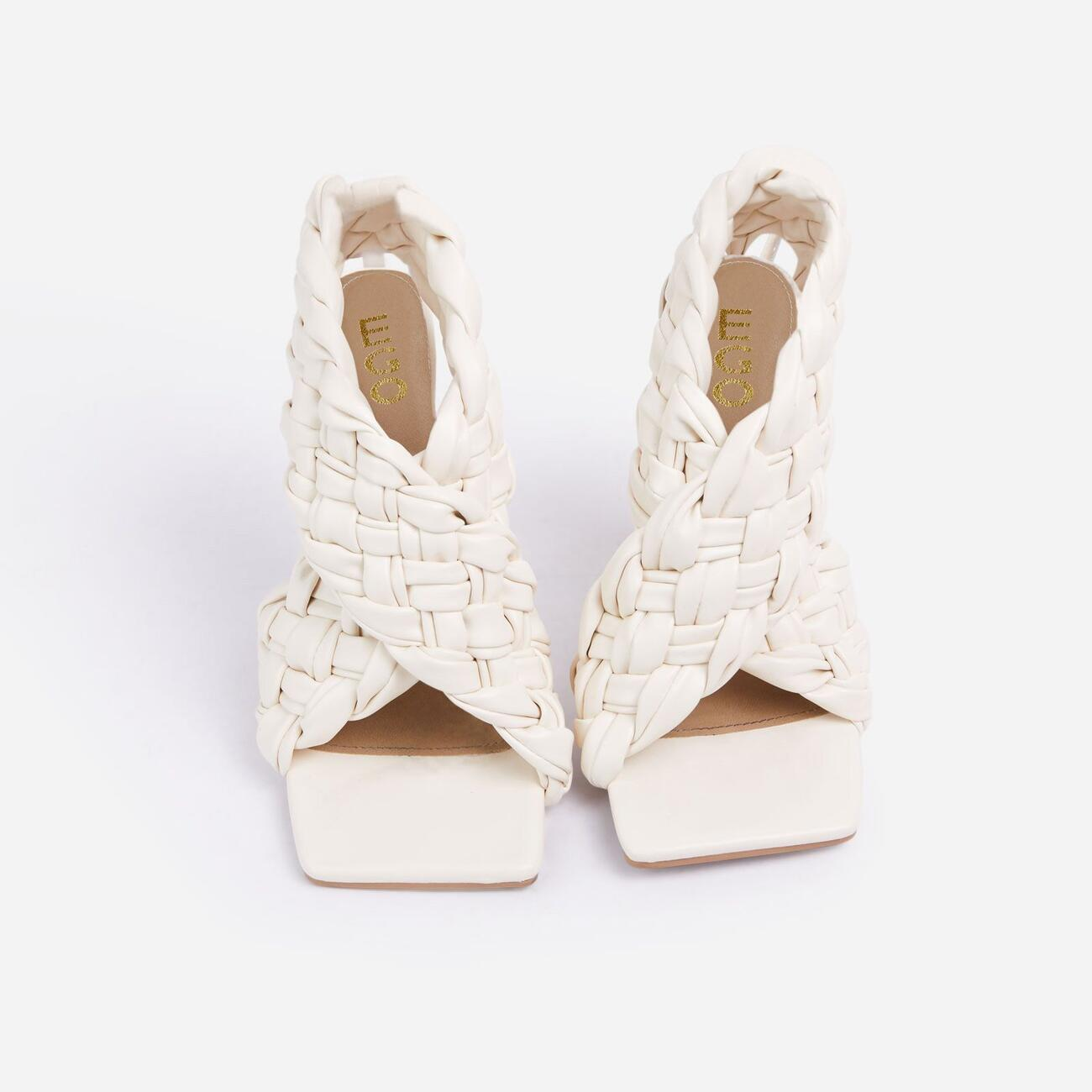 Impress Square Toe Woven Wrap Heel In Nude Faux Leather Image 4