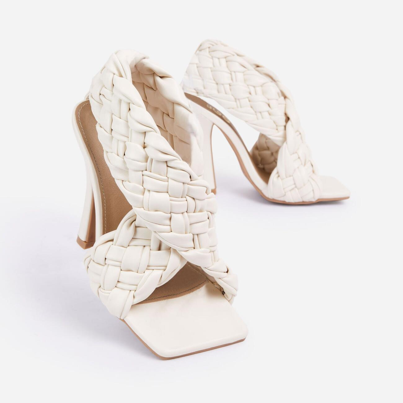 Impress Square Toe Woven Wrap Heel In Nude Faux Leather Image 5