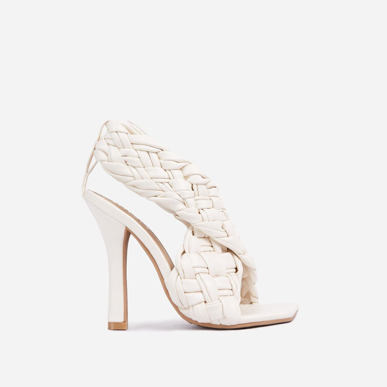 Impress Square Toe Woven Wrap Heel In Nude Faux Leather Image 1